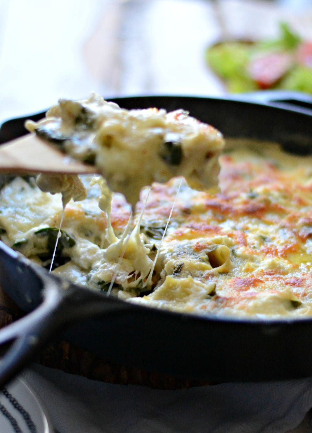 Triple Cheese Spinach Skillet Lasagna | Sarcastic Cooking