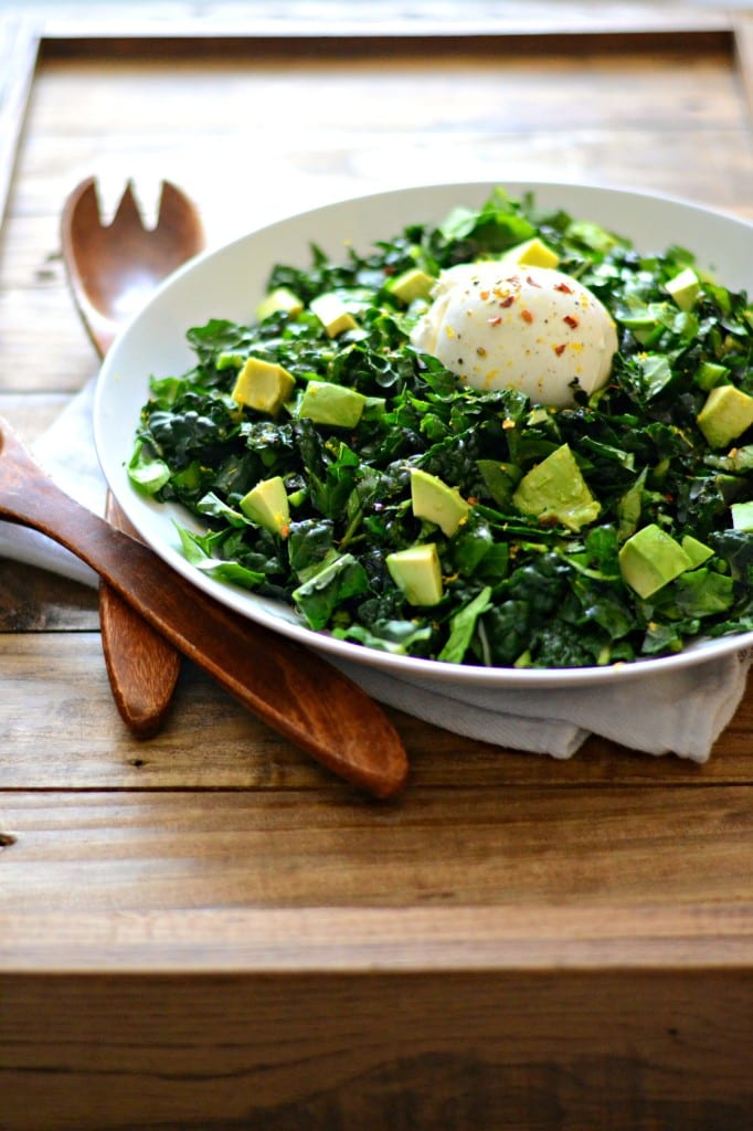 Chopped Kale and Spinach Salad with Avocado and Burrata | Sarcastic Cooking