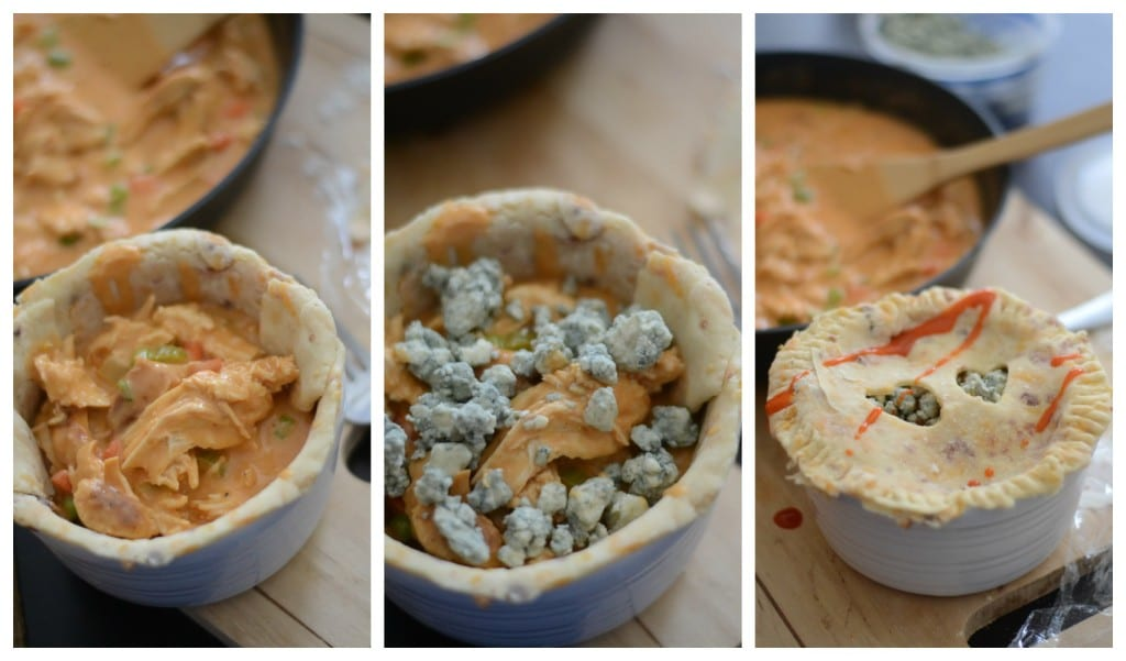 How to put the buffalo chicken pot pie together