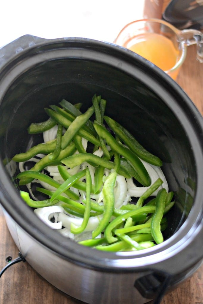 Green Peppers and Onions in Slow Cooker
