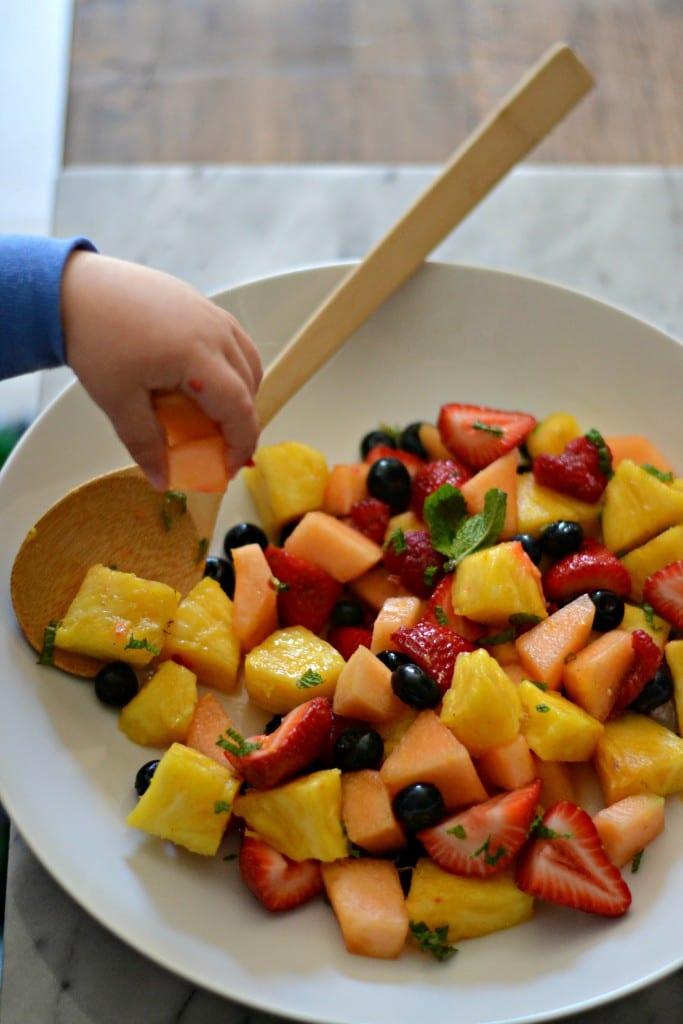 Fresh Mint and Orange Blossom Fruit Salad for #BrunchWeek