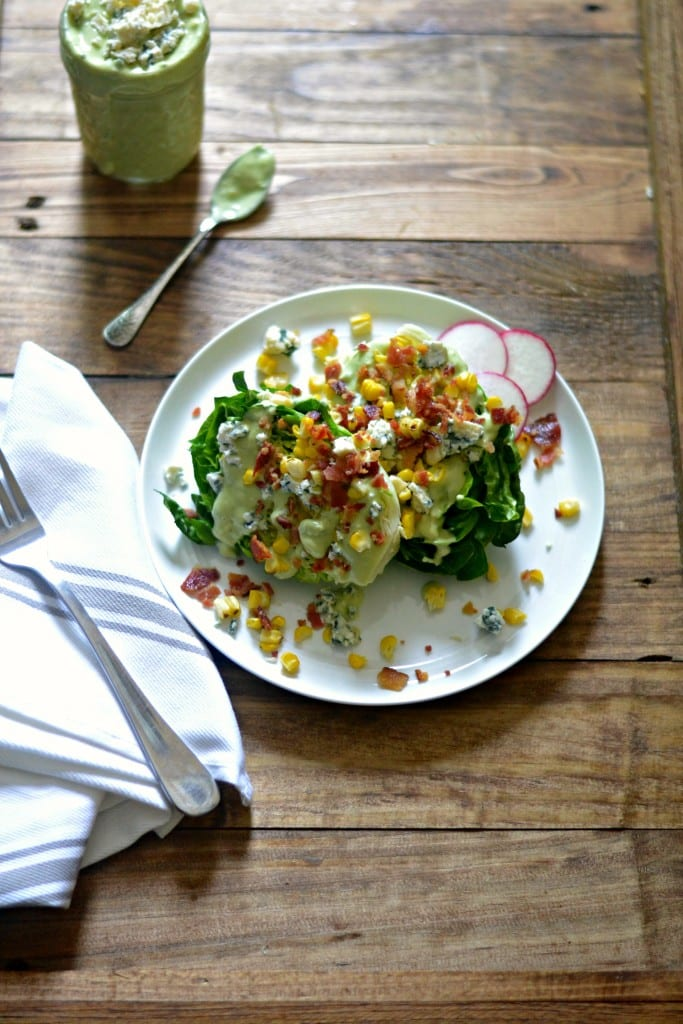 Summer Wedge Salad with Charred Corn and Blue-Cheese Avocado Dressing   Sarcastic Cooking