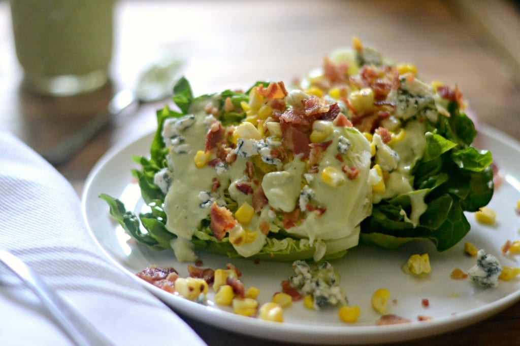 Summer Wedge Salad with Charred Corn and Blue Cheese-Avocado Dressing | Sarcastic Cooking