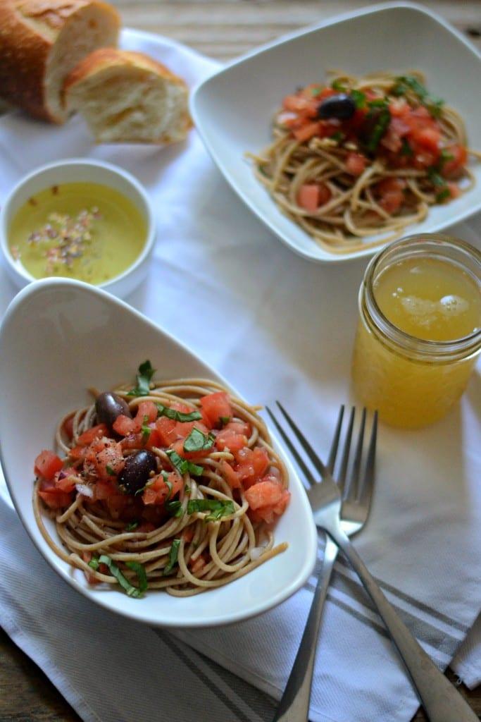 Meatless Monday: ;eftover Bruschetta Spaghetti   Sarcastic Cooking