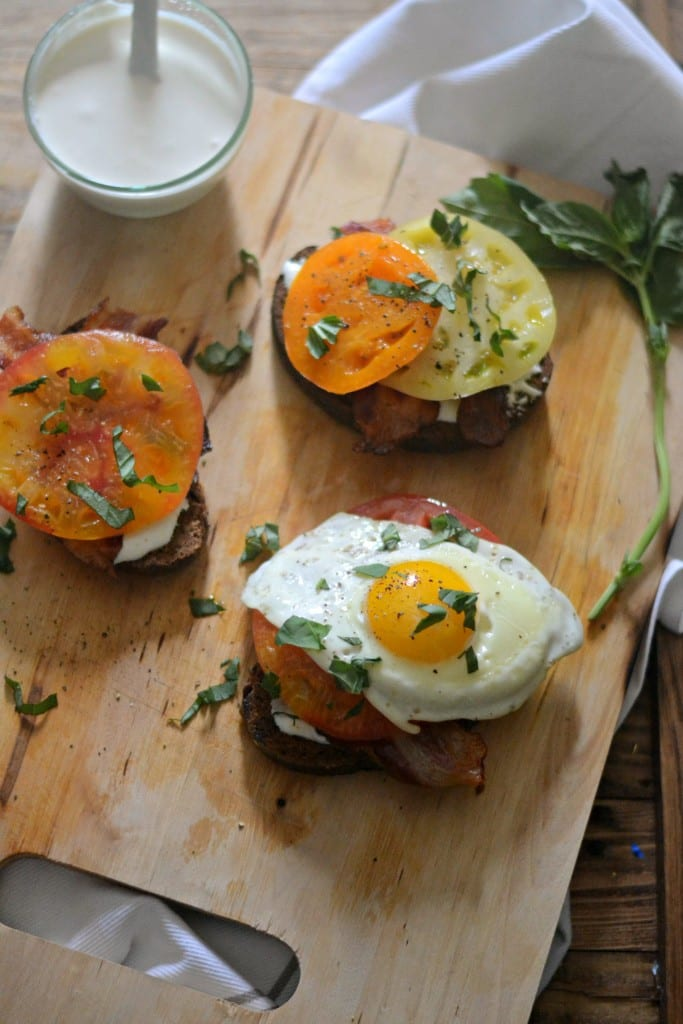Open-faced Heirloom Tomato and Whipped Feta Breakfast Sandwiches | Sarcastic Cooking