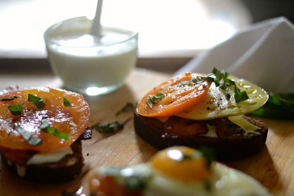 Open Faced Heirloom Tomato and Whipped Feta Sandwiches | Sarcastic Cooking