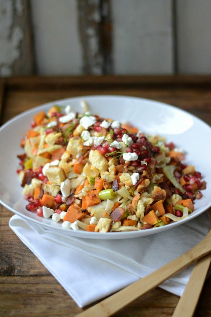 Sarcastic Cooking - Warm Sweet Potato, Bacon, and Leek Salad with Cheddar Biscuit Breadcrumbs