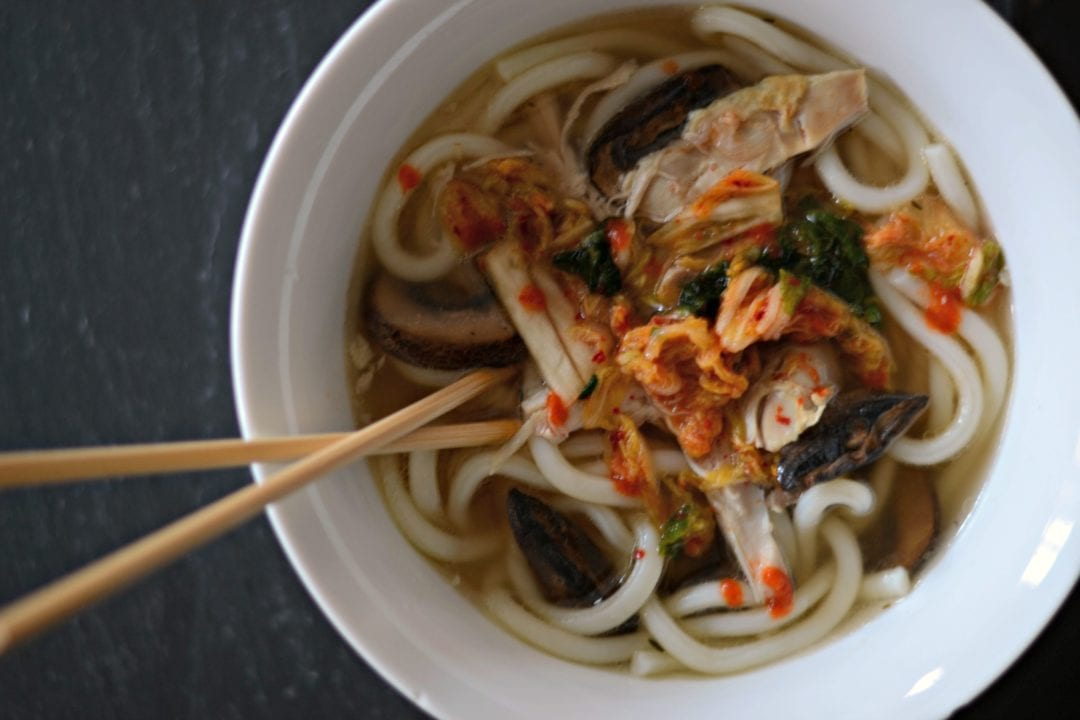 Korean Chicken Noodle Soup With Spicy Kimchi and Mushrooms | Sarcastic Cooking