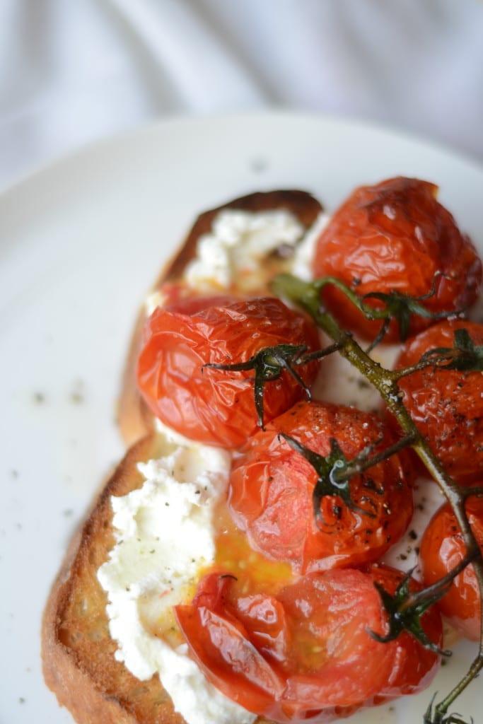 Roasted Burst Tomatoes on Garlic Bread Toast with Ricotta