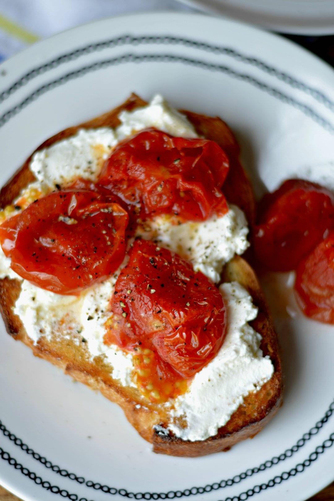 Burst Tomato and Ricotta Toast | Sarcastic cooking