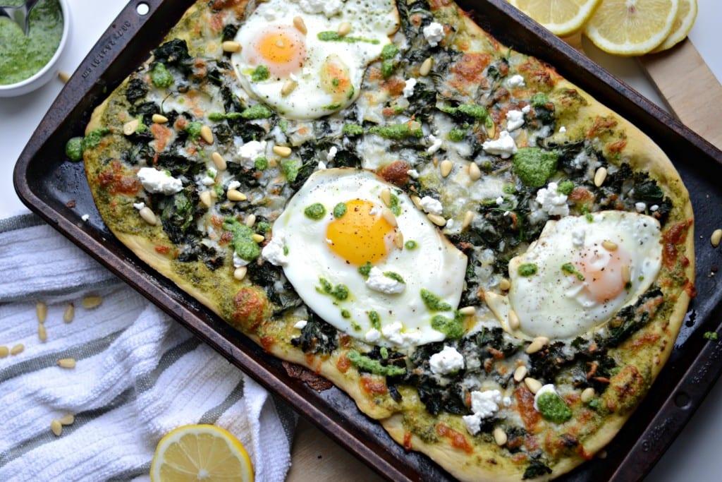 Super Greens Breakfast Pizza - Sarcastic Cooking