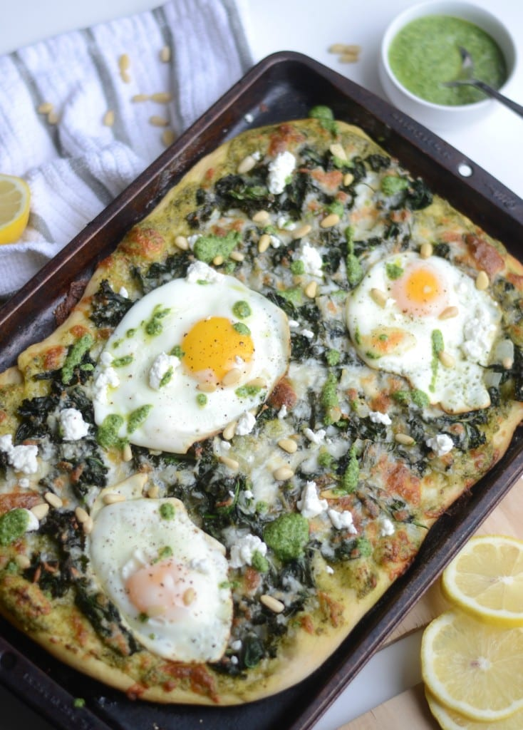 Super Greens Breakfast Pizza - garlicky kale and spinach with pesto and fried eggs - Sarcastic Cooking #brunch