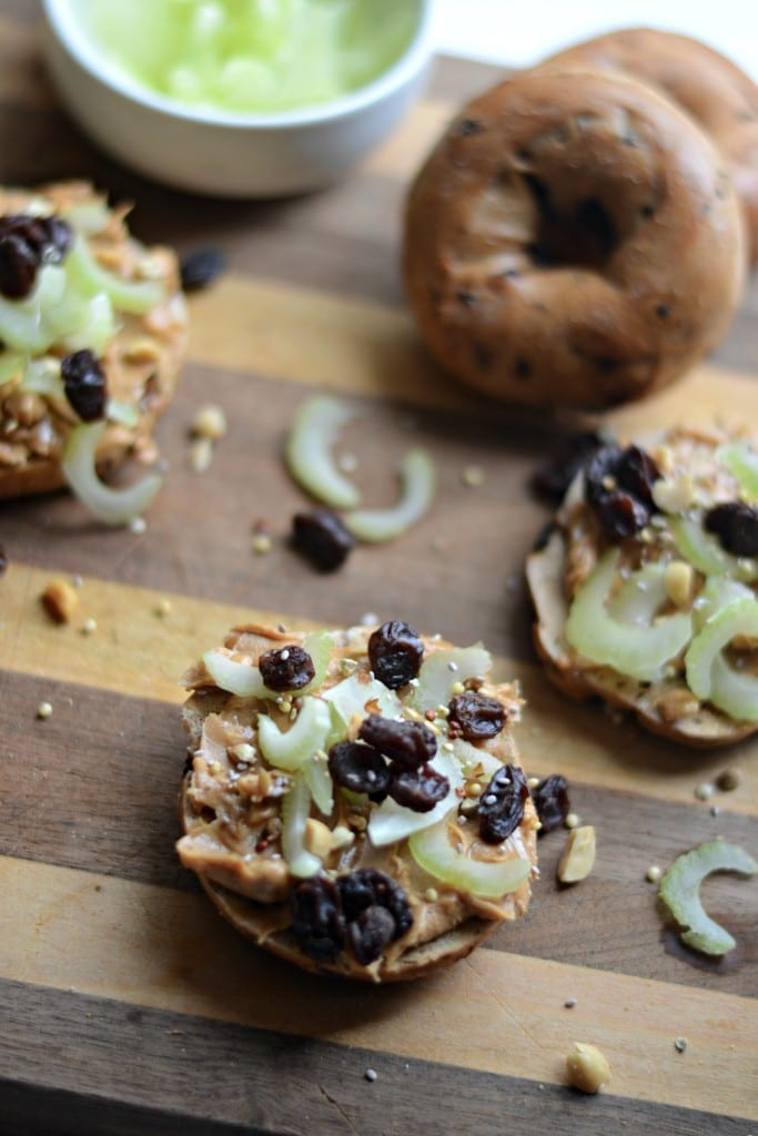 Ants on a Log Snack Bagel | Sarcastic Cooking