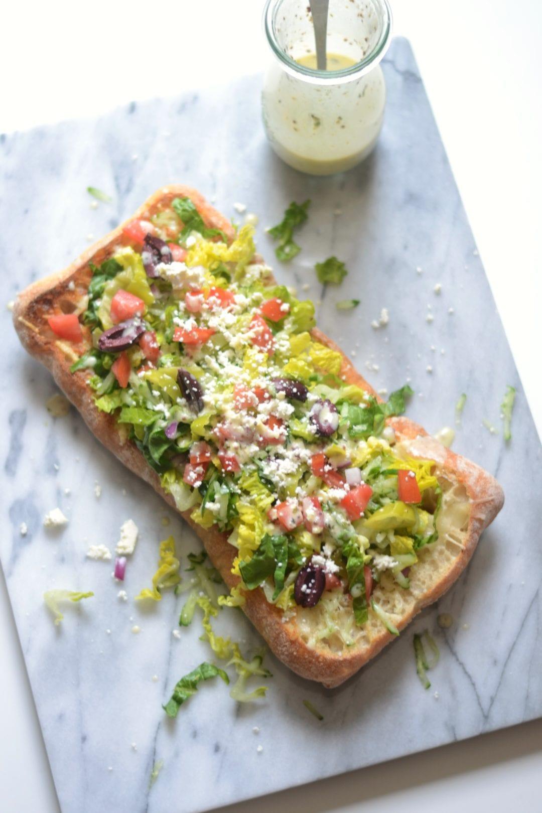 Greek Salad Cheesy Garlic Bread with Lemon Greek Yogurt Dressing ...