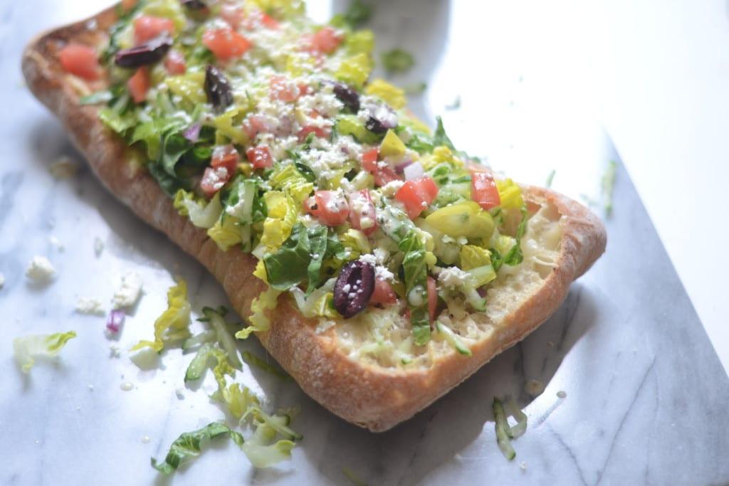 Greek Salad Cheesy Garlic Bread | Sarcastic Cooking