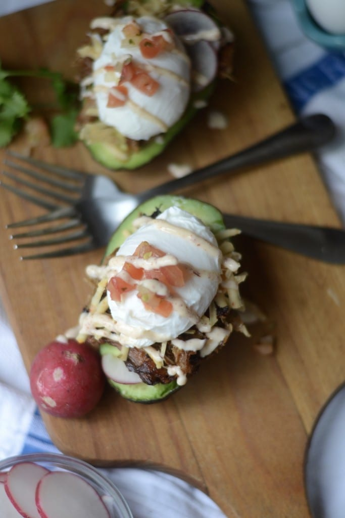 Carnitas Eggs Benedict with Chipotle Crema in Avocado Halves - Sarcastic Cooking
