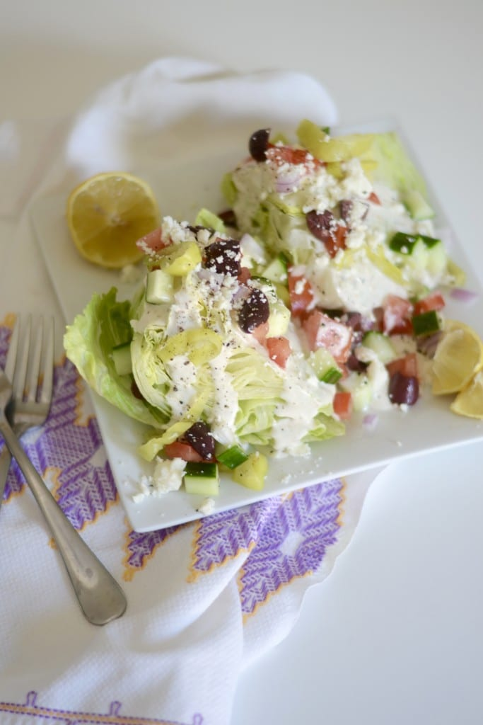 Greek Caesar Wedge Salad - Sarcastic Cooking