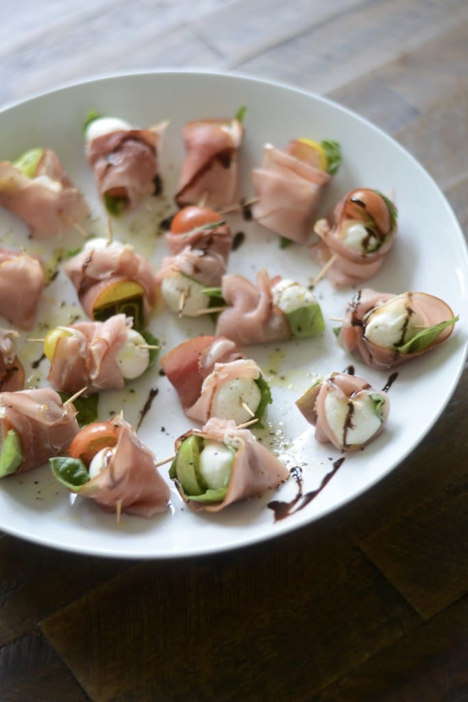 Mini Heirloom Tomato and Prosciutto Caprese Skewers | Sarcastic Cooking