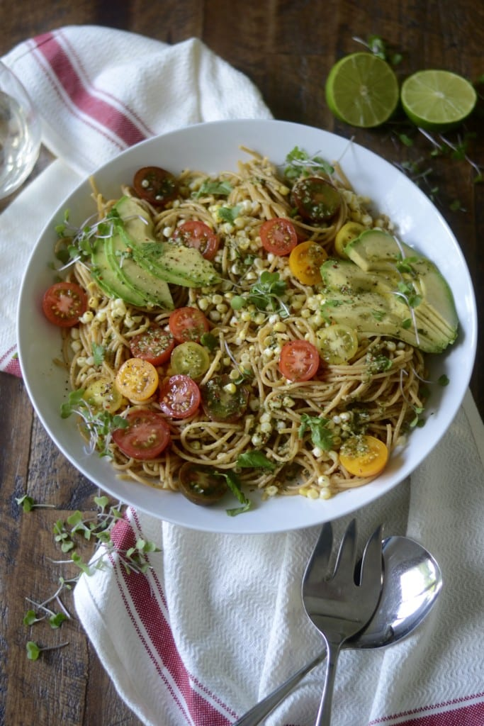 Avocado, Charred Corn, & Heirloom Tomato Pasta with Cilantro-Chili-Lime Sauce | Sarcastic Cooking