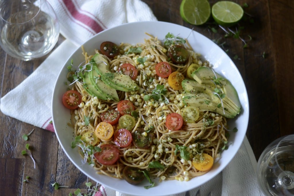 Mexican Pasta! Chile-Lime Sauce. Charred Corn, Avocado, and Heirloom Tomato Pasta. | Sarcastic Cooking