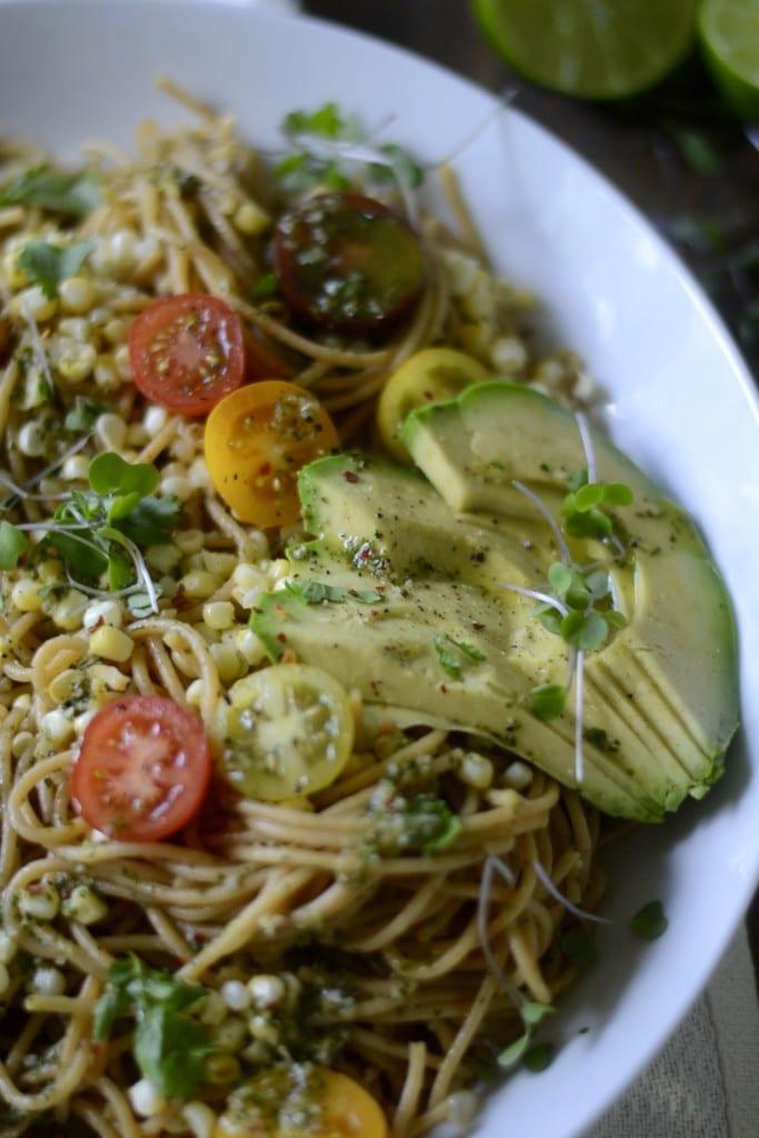 Avocado, Charred Corn, and Heirloom Tomato Pasta | Sarcastic Cooking
