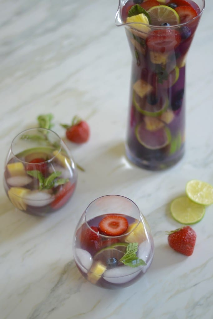 Blueberry Pineapple Sangria (made with white wine, pineapple juice, and lots of fruit) - Sarcastic Cooking