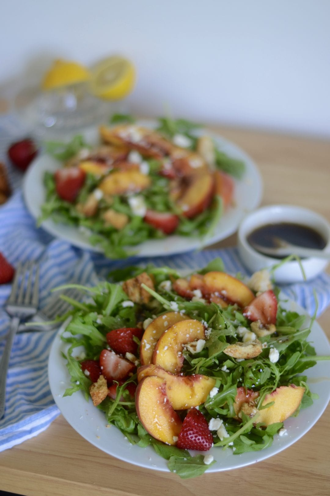 Peach, Strawberry, and Arugula Salad with Feta and Brown Sugar Balsamic Vinaigrette | Sarcastic Cooking