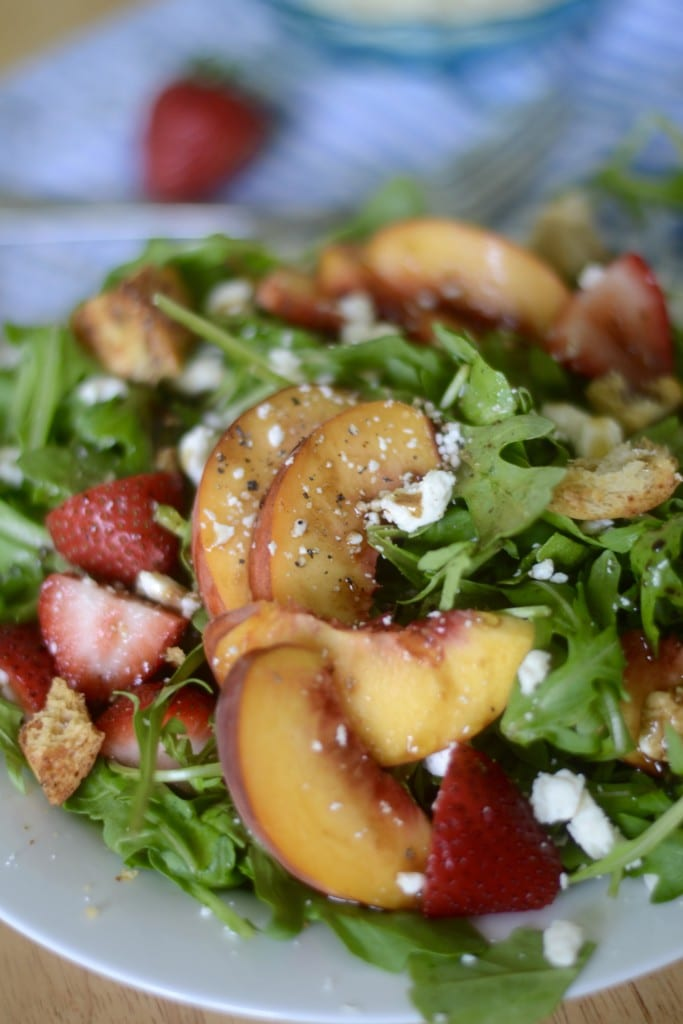 Peach, Strawberry, & Arugula Salad   Sarcastic Cooking