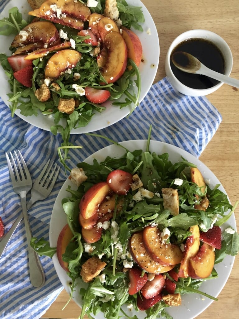 Say Bye to Summer with this Peach, Strawberry, & Arugula Salad with Brown Sugar Balsamic Vinaigrette   sarcasticcooking.com