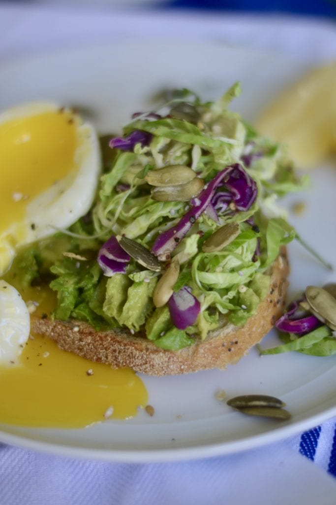 Avocado Toast with Quick Brussels Slaw and Soft Poached Egg | Sarcastic Cooking
