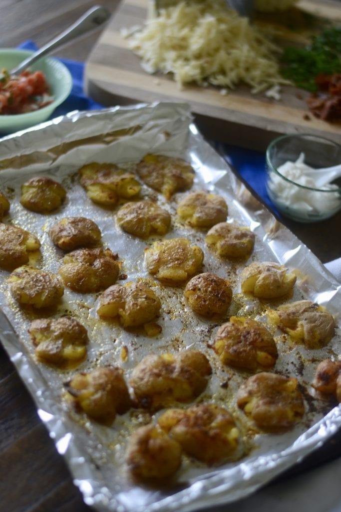 Baked, Crispy, Smashed Potatoes \ Sarcastic Cooking