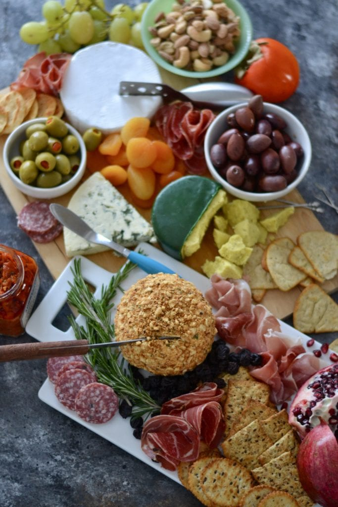 Sage-Brown Butter, Cashew, & Cracker Coated Cheese Ball and Holiday cheese Board | Sarcastic Cooking