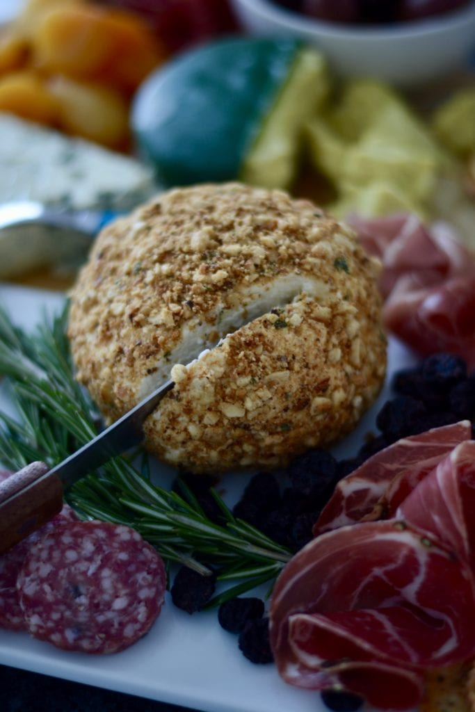 Sage-Brown Butter, Cashew, & Cracker Coated Cheeseball | Sarcastic cooking
