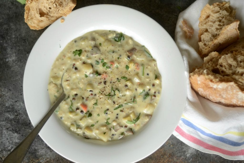 creamy vegetable and wild rice soup - sarcastic cooking