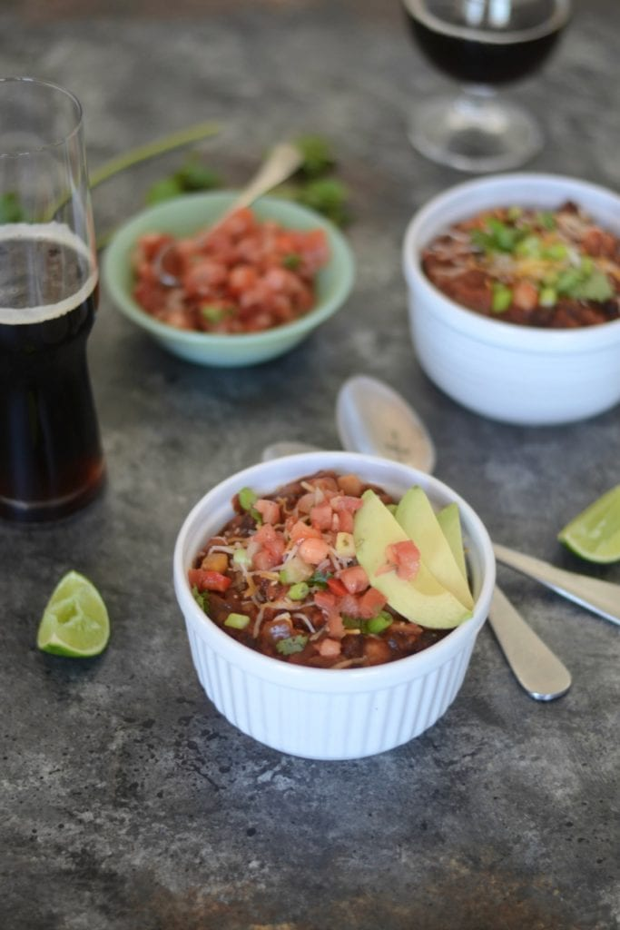 Slow Cooker Five Bean Beer Chili | Sarcastic Cooking @meatlessmonday