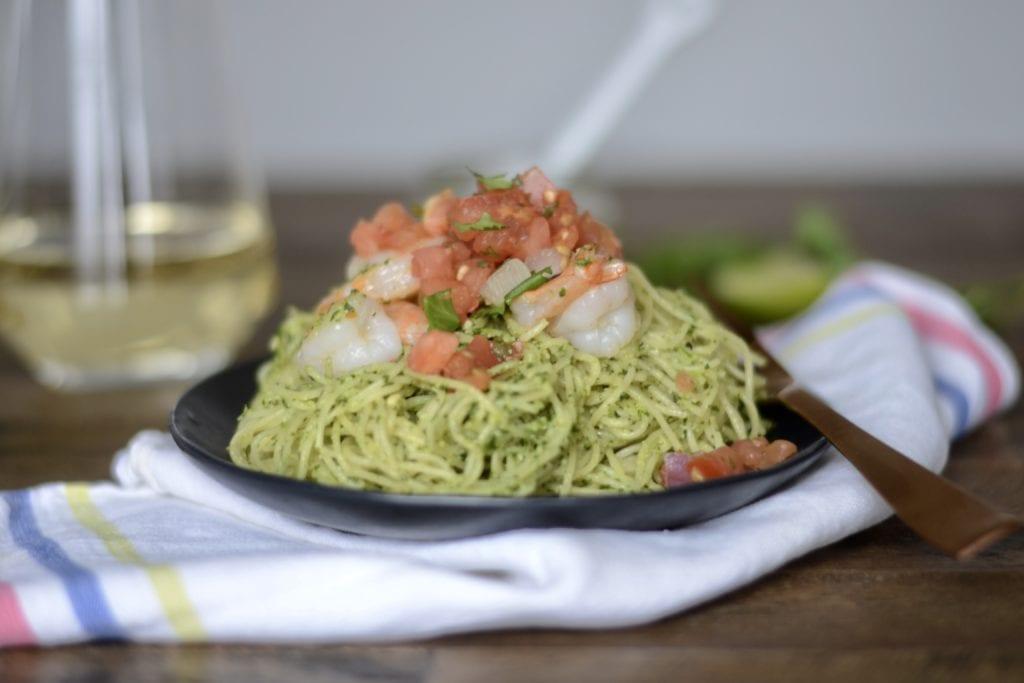 Garlic Shrimp with Cilantro Pesto Pasta | Sarcastic Cooking