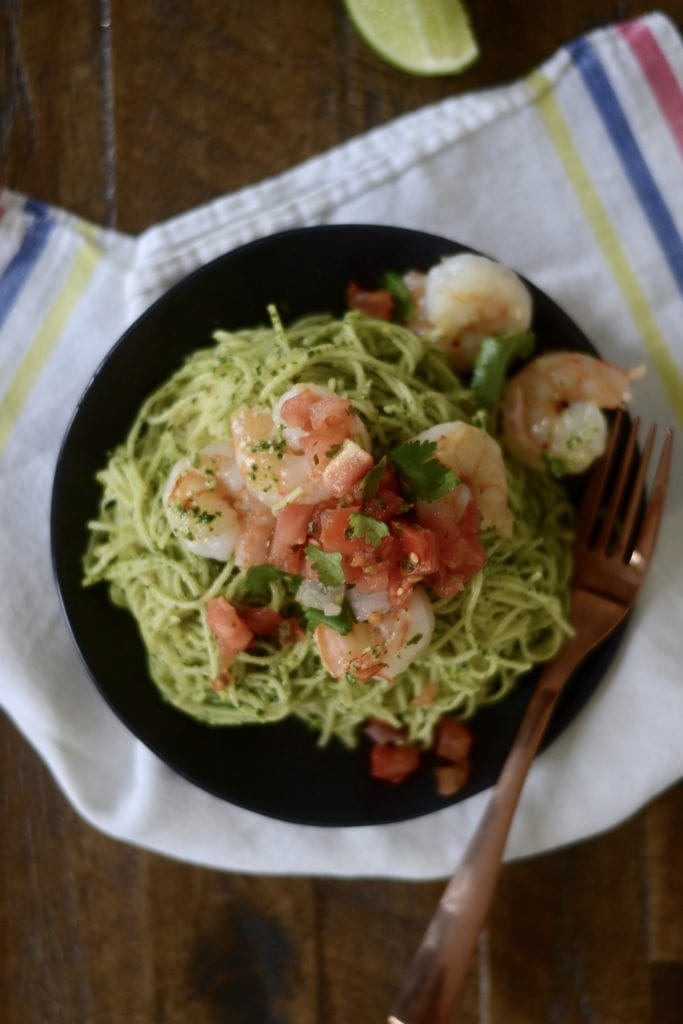 Garlic Shrimp with Cilantro Pesto Pasta | Sarcastic Cooking