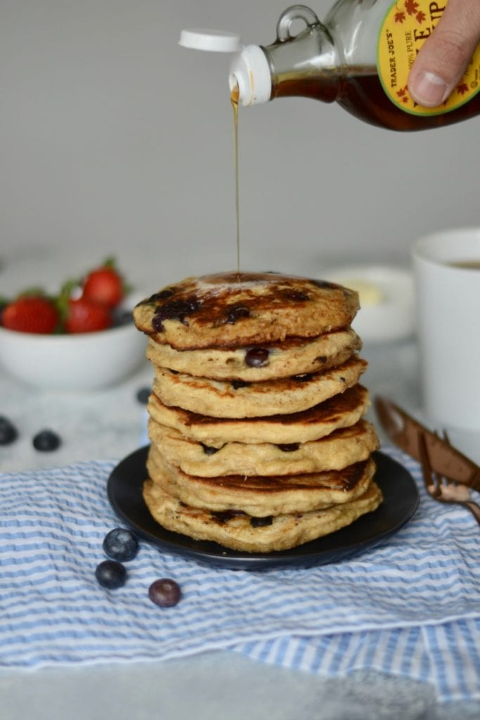 Blueberry Buttermilk Overnight Oat Pancakes | Sarcastic Cooking