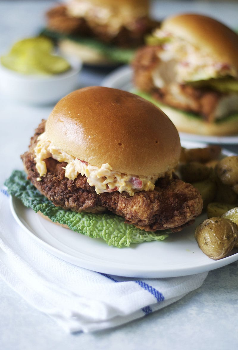 Fried Chicken and Pimento Cheese Sandwich