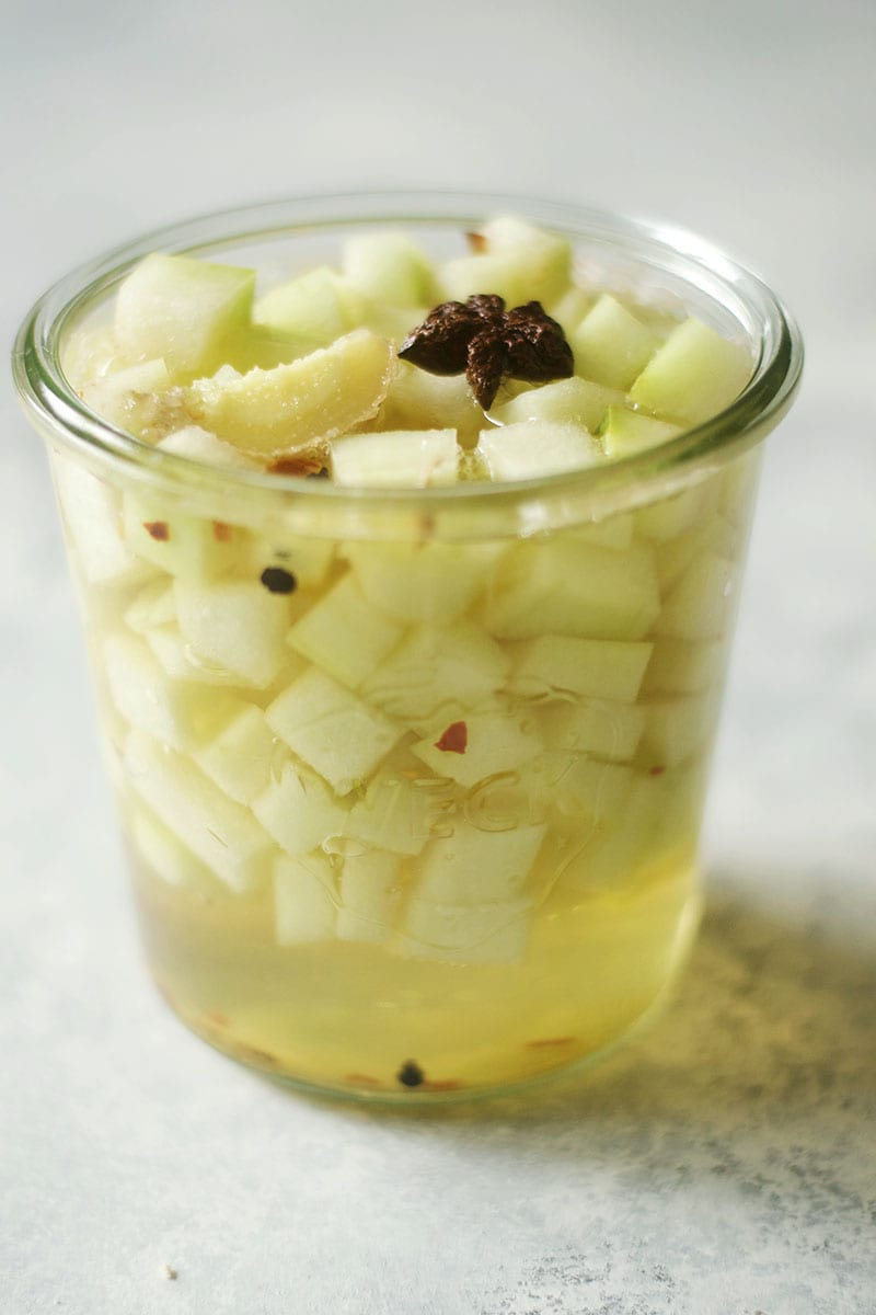 IPA Pickled Watermelon Rind with Ginger, Star Anise, and Peppers