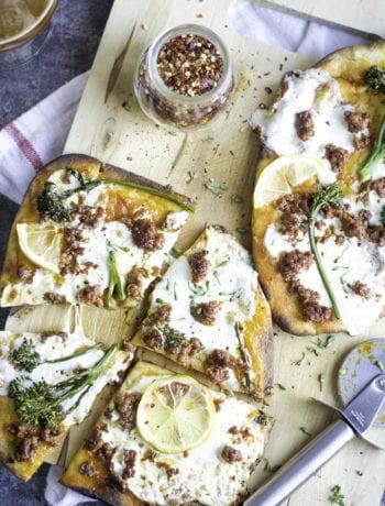 Broccolini and chorizo Flatbread Pizza