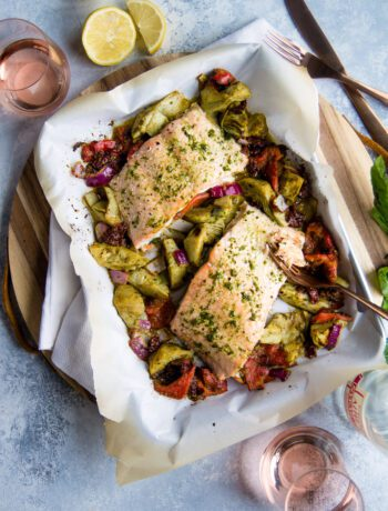 Sheet Pan Spicy Mediterranean Salmon and Veggies | Sarcastic Cooking