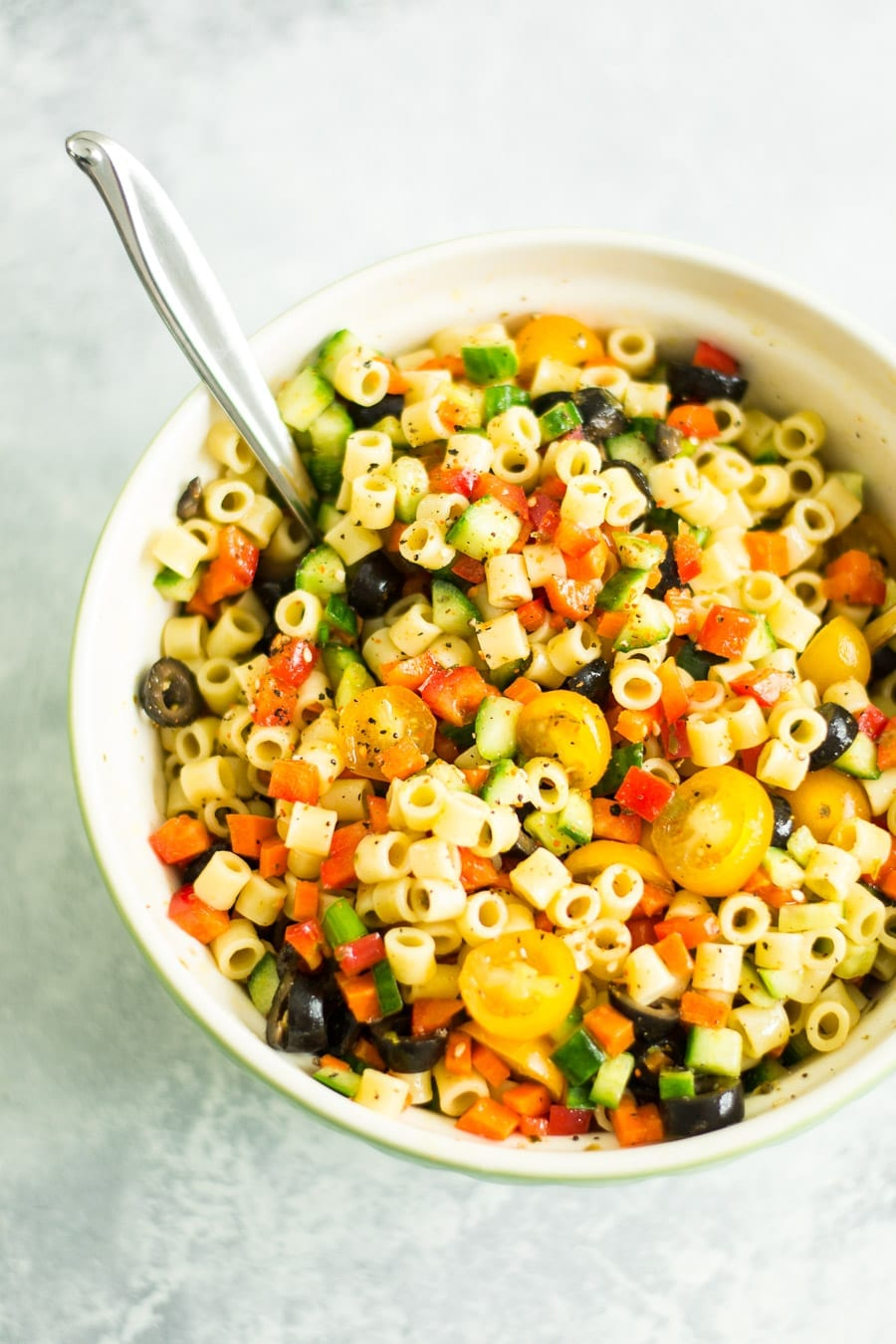 Diced Vegetable Pasta Salad | Sarcastic Cooking