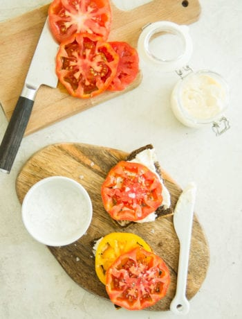 open faced heirloom tomato and lemon horseradish mayo sandwiches | sarcastic cooking