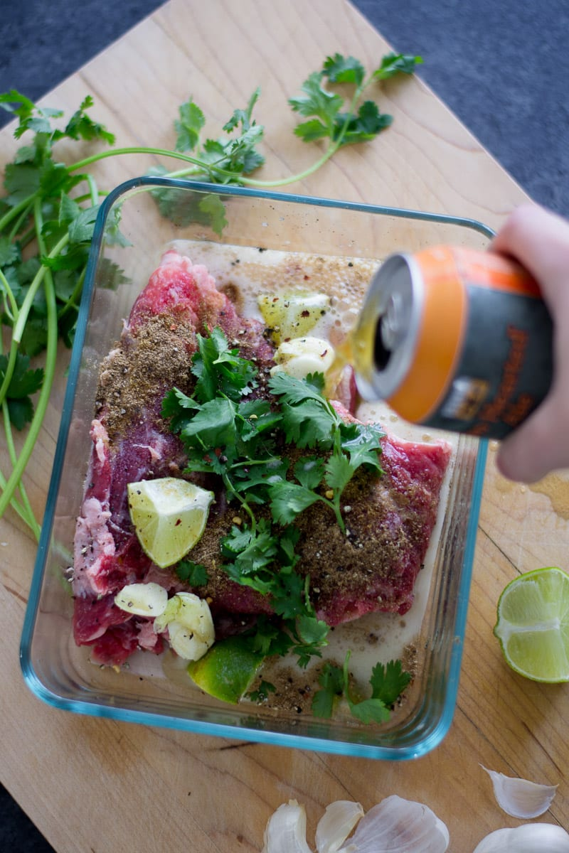 beer and lime marinated steak   sarcastic cooking