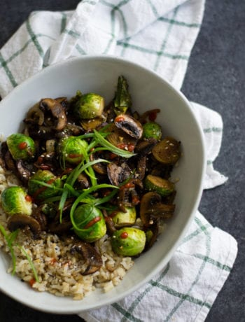 Balsamic Garlic Brussels Sprouts and Mushroom Stir Fry | Sarcastic Cooking