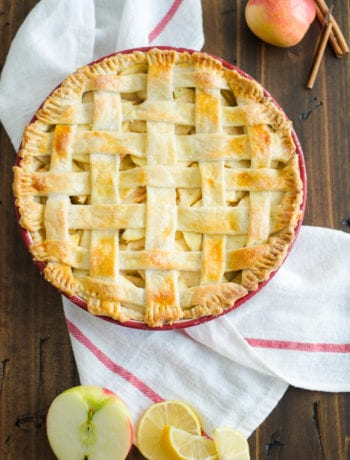 Homemade apple Pie with buttermilk crust and ginger, orange bitters, apple filling
