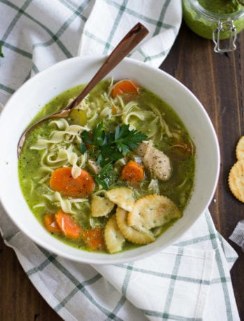 Instant Pot Pesto Chicken Noodle Soup - all the flavors of pesto plus cold fighting chicken noodle soup all in the instant pot | Sarcastic Cooking