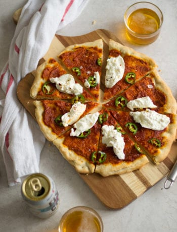 Romesco, Jalpeño, Burrata Pizza - Sarcastic Cooking
