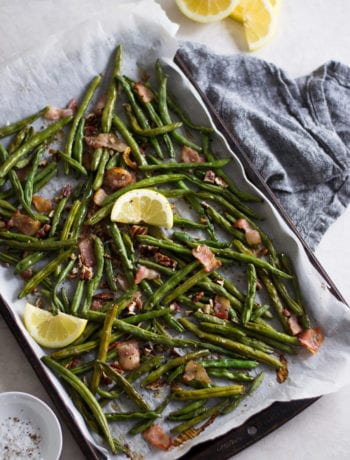 Roasted Green Beans with Bacon and Pecans | Sarcastic Cooking #thanksgiving #side #vegetable